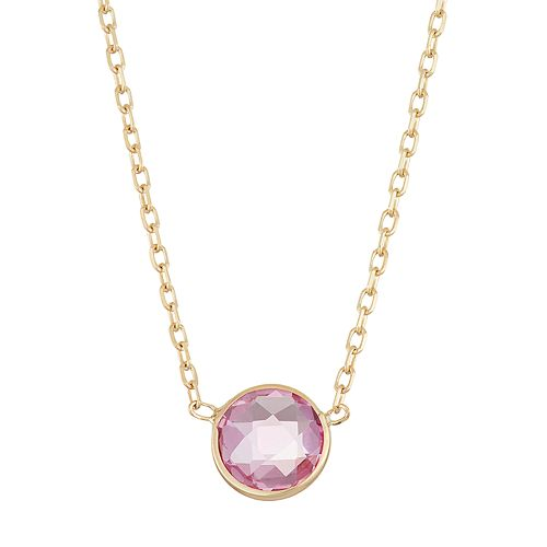 10k Gold Lab-Created Pink Sapphire Circle Pendant Necklace