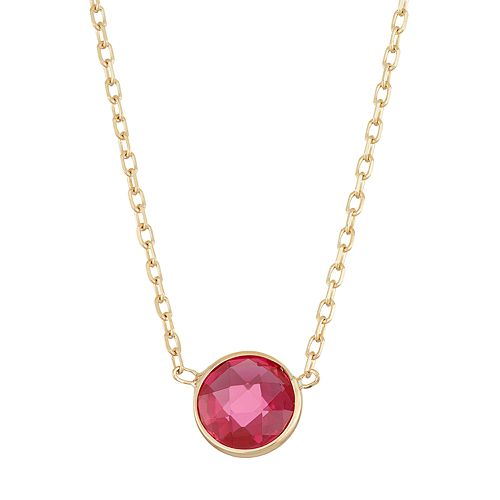 10k Gold Lab-Created Ruby Circle Pendant Necklace