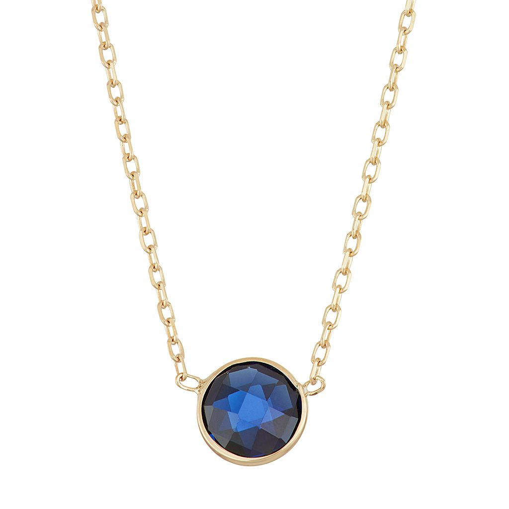 10k Gold Lab-Created Sapphire Circle Pendant Necklace