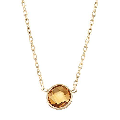 10k Gold Citrine Circle Pendant Necklace