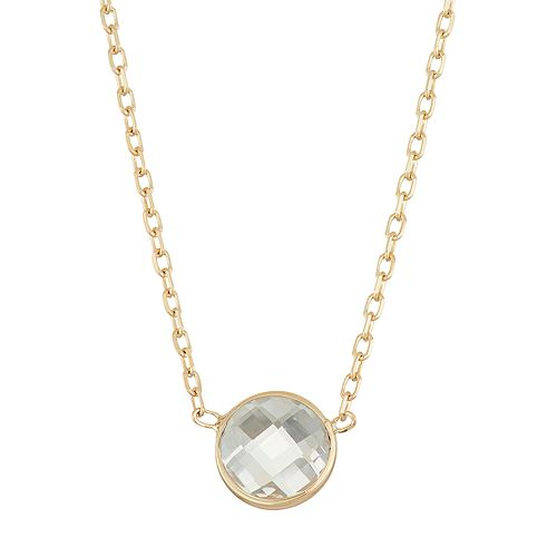 10k Gold Lab-Created White Sapphire Circle Pendant Necklace