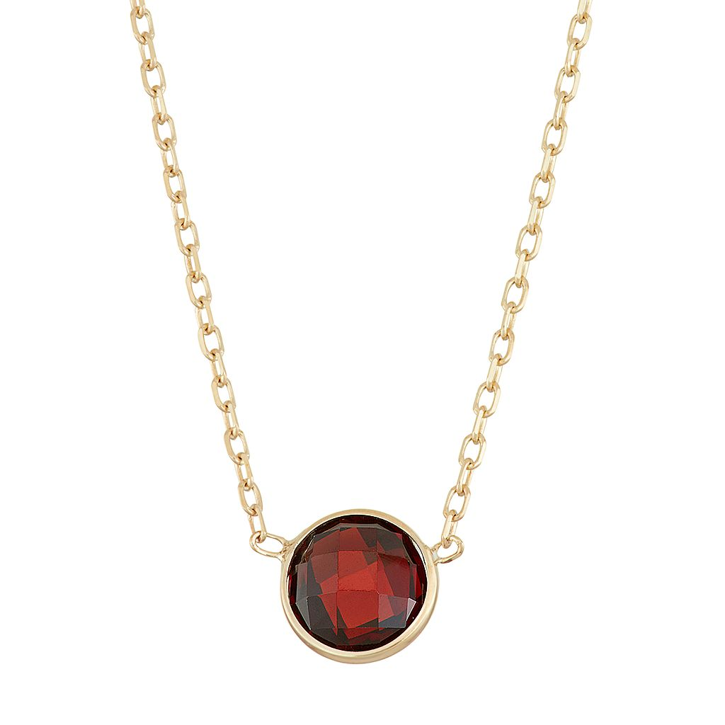 10k Gold Garnet Circle Pendant Necklace