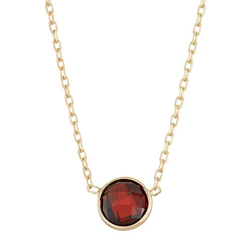 10k Gold Garnet Circle Pendant Necklace