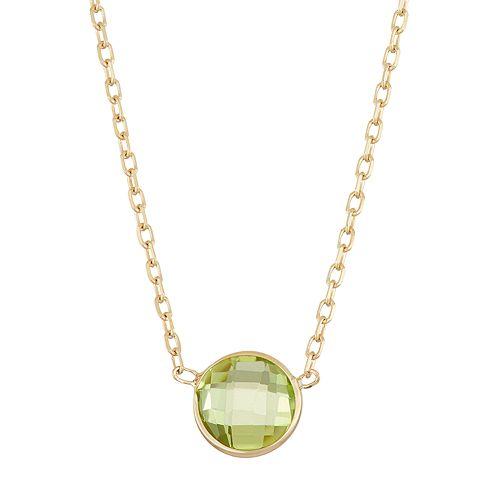 10k Gold Peridot Circle Pendant Necklace