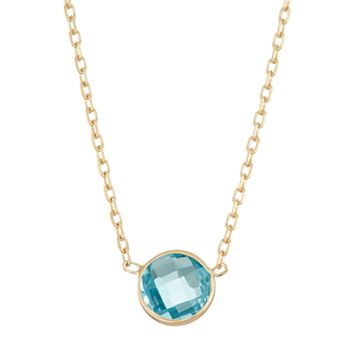 10k Gold Swiss Blue Topaz Circle Pendant Necklace