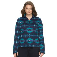 Plus Size Chaps Printed Half-Zip Pullover