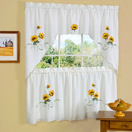 Sunshine Sunflower Tier Swag Kitchen Window Curtain Set