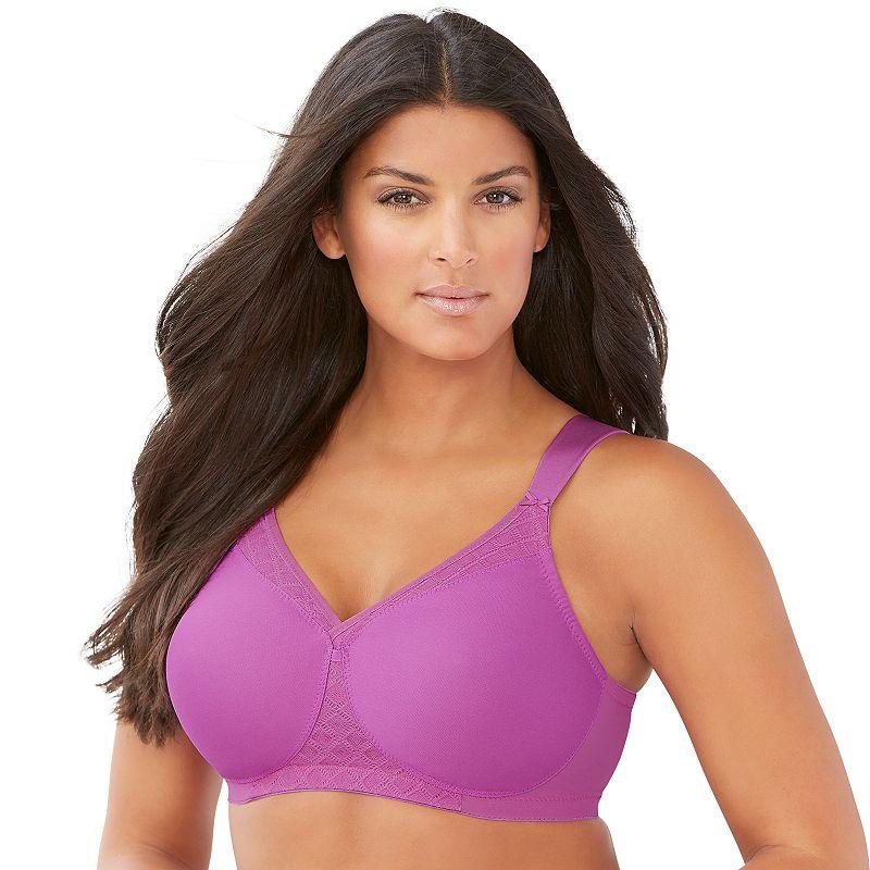 Plus Size Glamorise Bra: Soft Shoulders Full-Figure T-Shirt Bra 1080, Women's, Size: 46 C, Purple