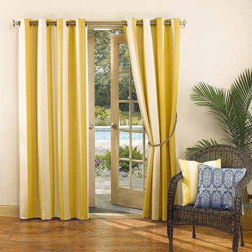 Sun Zero UV Blocking Riviera Indoor / Outdoor Woven Stripe Curtain
