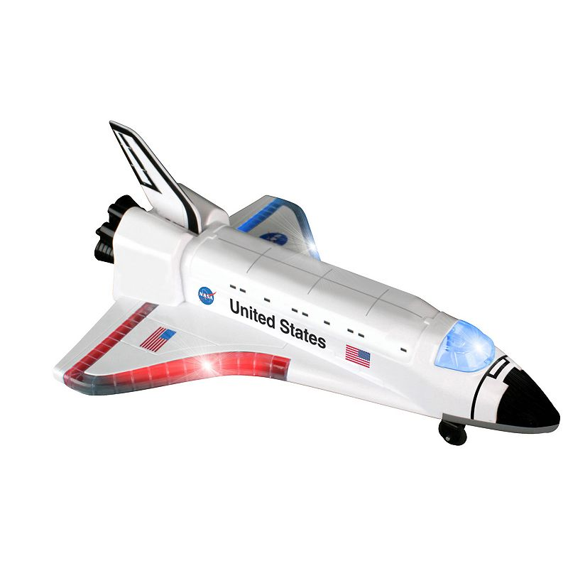Daron Remote Control Space Shuttle Dream of flying in space while you play with this Remote Control Space Shuttle from Daron. Lights & sounds Fast floor moving motion & a quick rate of speed Shuttle goes forward & backwards on the ground 10.25 H x 3.5 W x 10.25 D Age: 3 years & up Requires 6 AA batteries (not included) Imported Model number: RD189A  Size: One Size. Color: Multicolor. Gender: unisex. Age Group: kids.