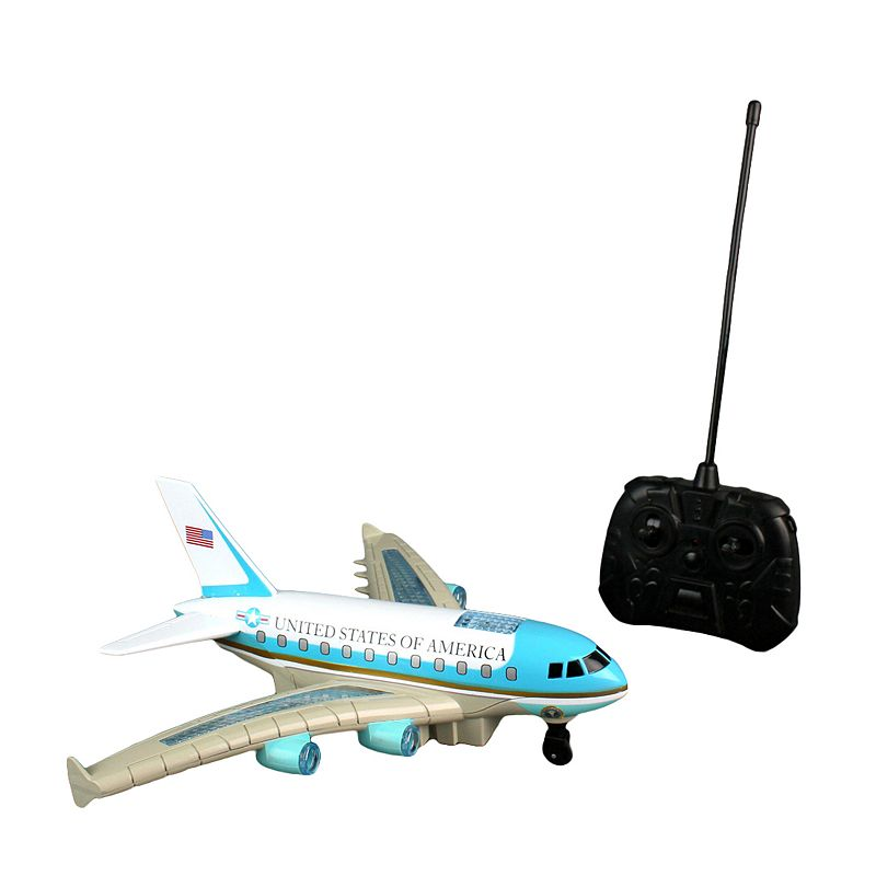 Daron Remote Control Air Force One Plane Feel presidential while playing with this Remote Control Air Force One Plane from Daron. Lights & sounds Fast floor moving motion & a quick rate of speed Plane goes forward & backwards on the ground 10.25 H x 3.5 W x 12.75 D Age: 3 years & up Requires 6 AA batteries (not included) Imported Model number: RD009  Size: One Size. Color: Multicolor. Gender: unisex. Age Group: kids.