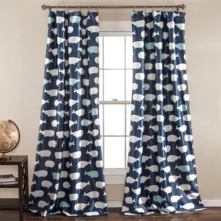 Half Moon 2-pack Kids Whale Window Curtains - 52'' x 84''