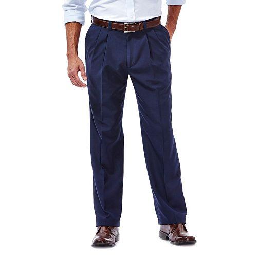 Men's Haggar eCLo Stria Straight-Fit Pleated Dress Pants
