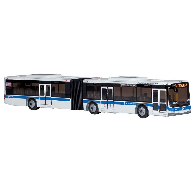 Daron New York MTA Hybrid Articulated Bus This Daron New York MTA Hybrid Articulated Bus is a miniature version of the real deal. Functional doors Authentic markings & features Six wheels Great as a toy or as a display piece 16 -long Age: 3 years & up Model number: RT8563  Size: One Size. Color: Multicolor. Gender: unisex. Age Group: kids.