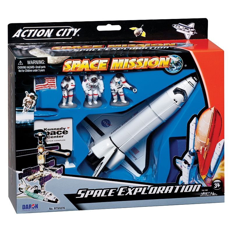 Daron NASA Die-Cast Space Shuttle Play Set The fun will be out of this world with this Daron NASA Die-Cast Space Shuttle Play Set. Great set for science projects, fairs & for play time Modern design & finish WHAT'S INCLUDED Astronauts 6 -long space shuttle Shuttle stand Age: 3 years & up Imported Model number: RT9107K  Size: One Size. Color: Multicolor. Gender: unisex. Age Group: kids.
