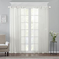 Madison Park 1-Panel Conway Burnout Sheer Window Curtain