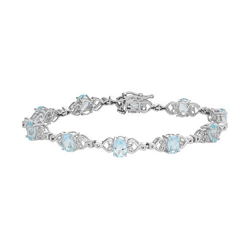 Sterling Silver Sky Blue Topaz Heart Link Bracelet
