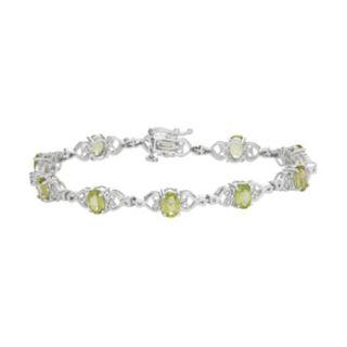 Sterling Silver Peridot Heart Link Bracelet