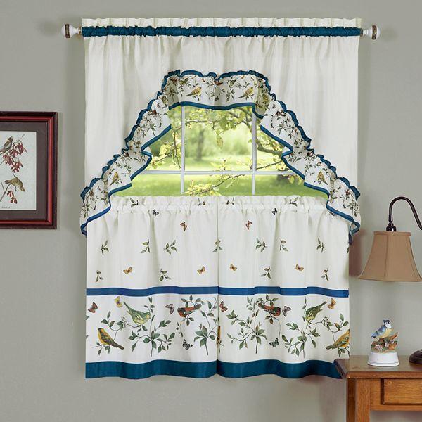 Love Birds 3 Piece Swag Tier Kitchen Window Curtain Set