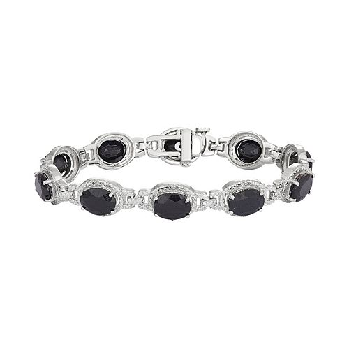 Sterling Silver Lab-Created Sapphire & Diamond Accent Oval Halo Bracelet