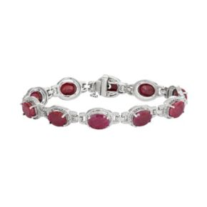 Sterling Silver Lab-Created Ruby & Diamond Accent Oval Halo Bracelet