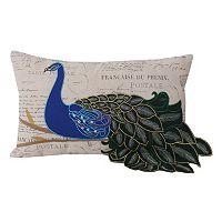 Thro by Marlo Lorenz Postcard Print Peacock Oblong Throw Pillow