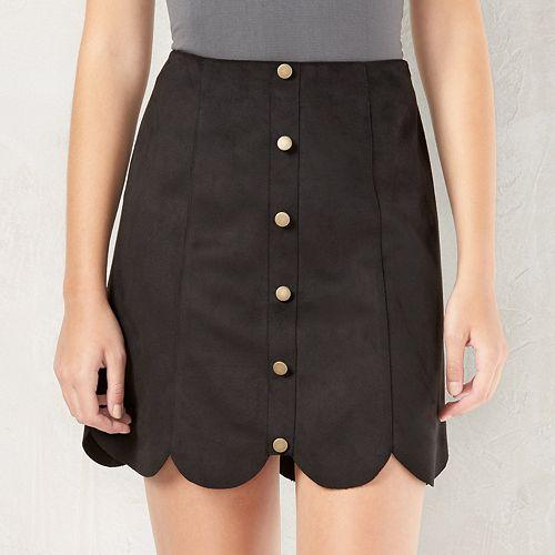 e9ba62fad6 Women's LC Lauren Conrad Scalloped Faux-Suede Skirt