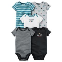 Baby Boy Carter's 5-pk. Embroidered & Striped Bodysuits