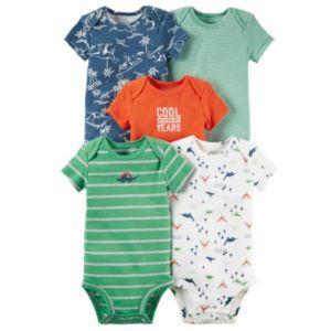 Baby Boy Carter's 5-pk. Dino & Striped Bodysuits