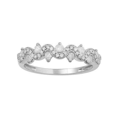 10k White Gold 1/2 Carat T.W. Diamond Twist Ring