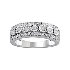 c7cb8d563 10k White Gold 1/2 Carat T.W. Diamond Triple Row Ring