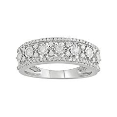 10k White Gold 1/2 Carat T.W. Diamond Triple Row Ring