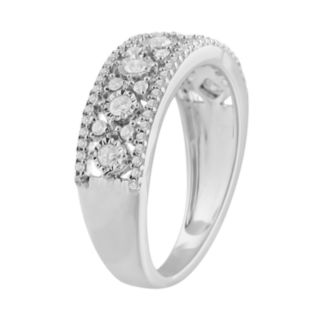 10k White Gold 1/2 Carat T.W. Diamond Triple Row Ring