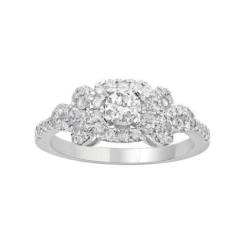 Simply Vera Vera Wang 14k White Gold 3/4 Carat T.W. Diamond Bow Ring