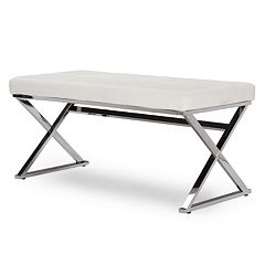 Baxton Studio Herald White Upholstered Bench