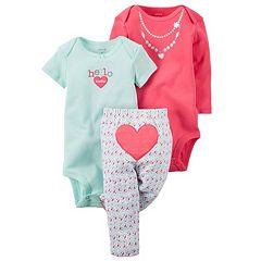 Baby Girl Carter's 3-pc. Bodysuit & Heart Pants Set