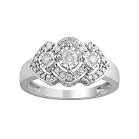 10k White Gold 1/2 Carat T.W. Diamond 3-Stone Halo Ring