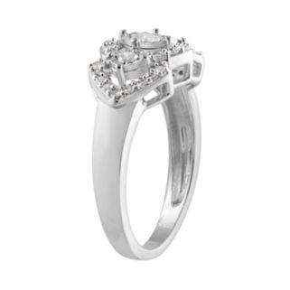 10k White Gold 1/2 Carat T.W. Diamond 3-Stone Halo Ring