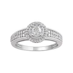 10k White Gold 1/2 Carat T.W. Diamond Halo Ring