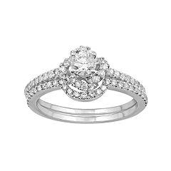 Simply Vera Vera Wang 14k White Gold 9/10 Carat T.W. Diamond Halo Engagement Ring Set