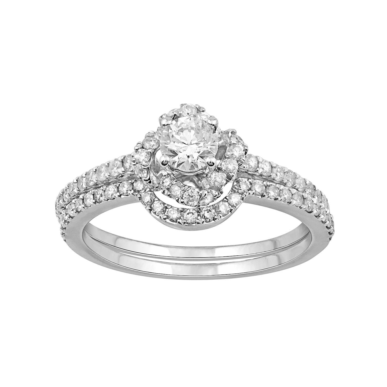 Simply Vera Vera Wang 14k White Gold 9/10 Carat T.W. Diamond Halo Engagement  Ring Set