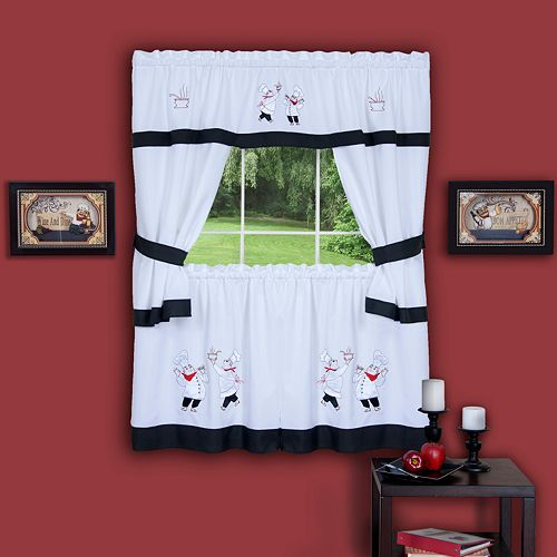Gourmet Chef 5-piece. Tier Swag Kitchen Window Curtain Set