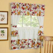 """Chesapeake 5-piece Swag Tier Cottage Kitchen Window Curtain Set - 24""""L Tiers"""