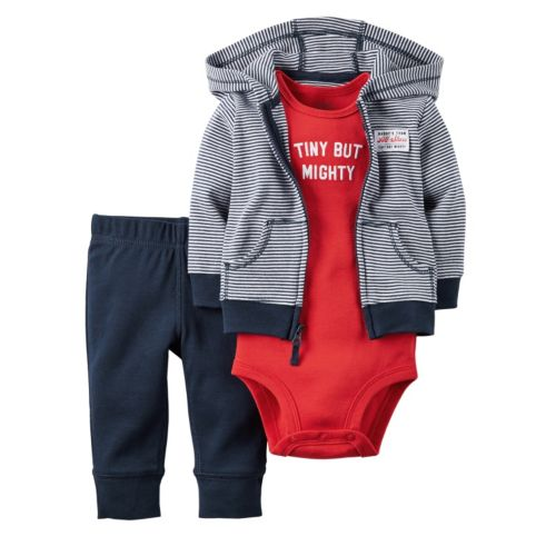 "Baby Boy Carter's ""Tiny But Mighty"" Bodysuit, Cardigan & Pants Set"