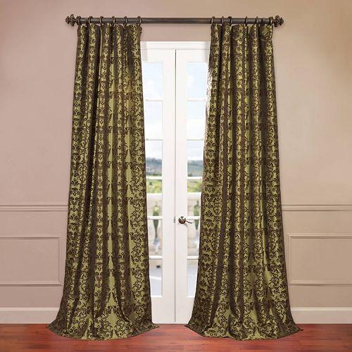 EFF Firenze Flocked Faux-Silk Window Curtain