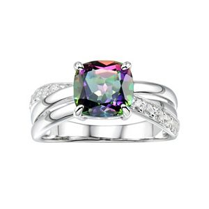 Sterling Silver Mystic Fire Topaz & Lab-Created White Sapphire Crisscross Ring