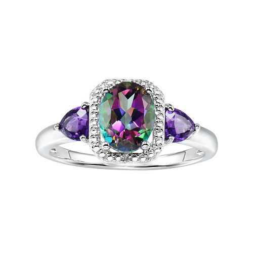 Sterling Silver Mystic Fire Topaz & Amethyst Accent Halo Ring