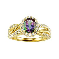 14k Gold Over Silver Mystic Fire Topaz & Lab-Created White Sapphire Twist Ring