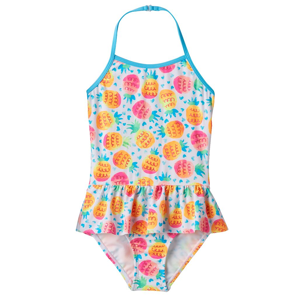 Girls 4-16 SO® Pineapple Halter One-Piece Swimsuit