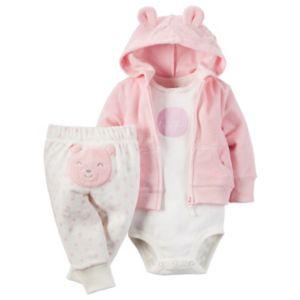 Baby Girl Carter's Terry Cardigan & Bear Pant Set